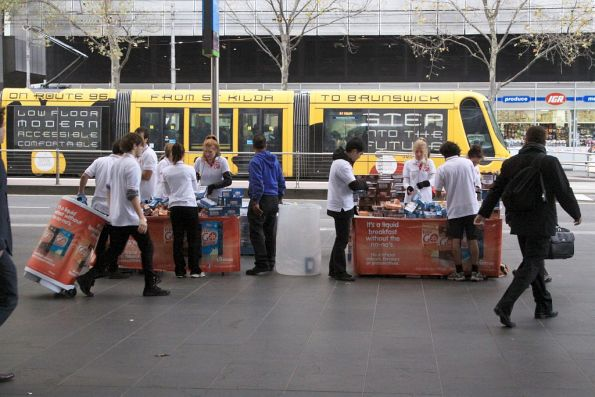 Handing out sample Vita Go liquid breakfast drinks to commuters at Southern Cross Station