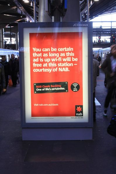 NAB billboard at Southern Cross Station advertising free wi-fi