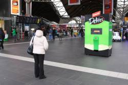 Promotion event for Fantastic Snacks 'Delites' biscuits clogging up the main concourse at Southern Cross Station