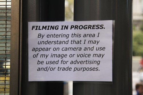 The second 'filming in progress' sign at the entrance to Southern Cross Station