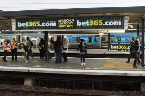 'Bet365' advertising for AFL betting plastered all over Richmond station