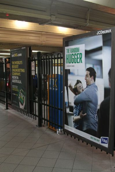 Betting advertisements for TAB and Bet365 in the Elizabeth Street subway