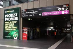 Advertising banners for Bet365 blankets the entire station