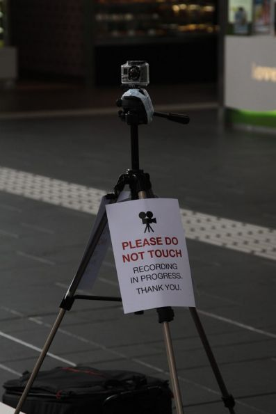 GoPro camera setup as part of a Penguin Books promotion at the main entrance to Southern Cross Station