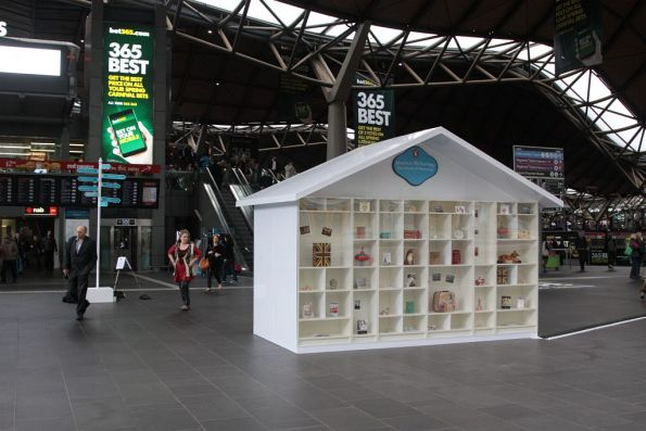 Penguin Books promotion blocking the main entrance to Southern Cross Station