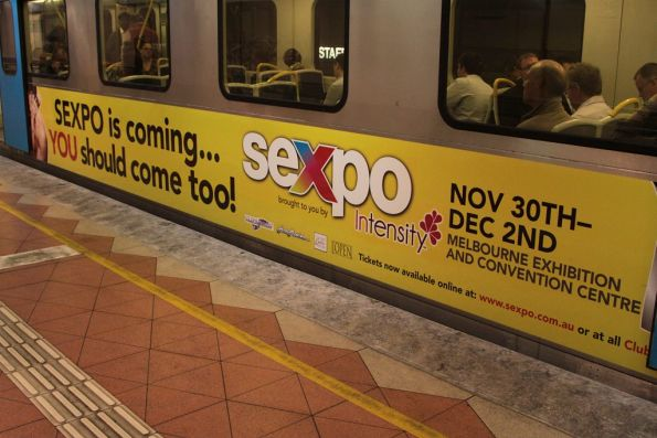 Sexpo advertising on the trailer car of a Siemens train