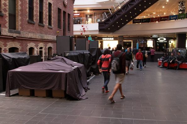 The *normal* crap that blocks access to Melbourne Central Station - some fashion stalls that are closed for the day