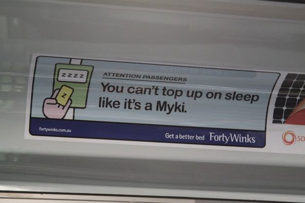 Myki themed advertisement from Forty Winks