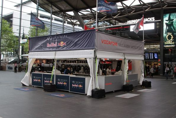 One of two Grand Prix merchandise stalls blocking walkways at Southern Cross