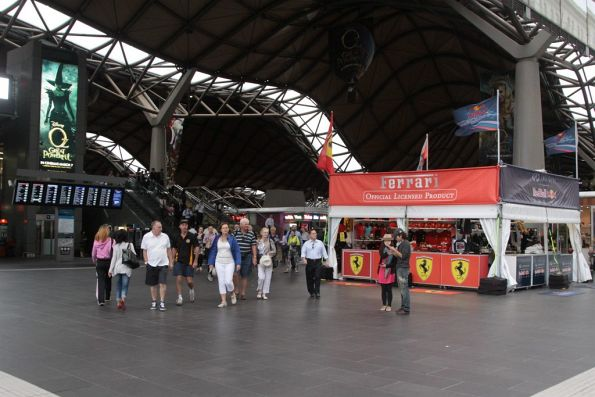Grand Prix merchandise stalls the main entrance to Southern Cross