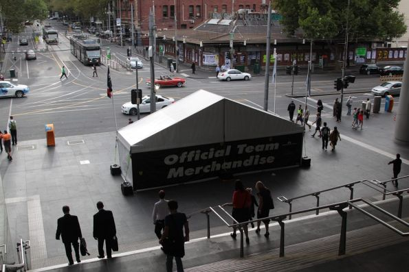 The second Grand Prix merchandise stall blocking the walkway at Southern Cross