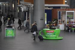 Handing out free samples of 'Colgate Plax' at Southern Cross Station