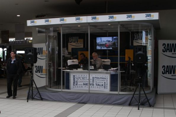 Neil Mitchell from 3AW broadcasting from the concourse at Flinders Street Station
