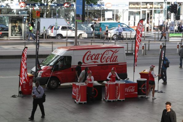 Coca Cola promotion outside Southern Cross Station in afternoon peak