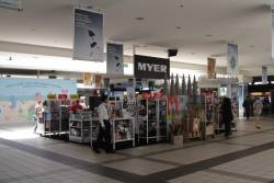 Temporary Myer store clogging up the southern end of the Swanston Street concourse at Flinders Street Station