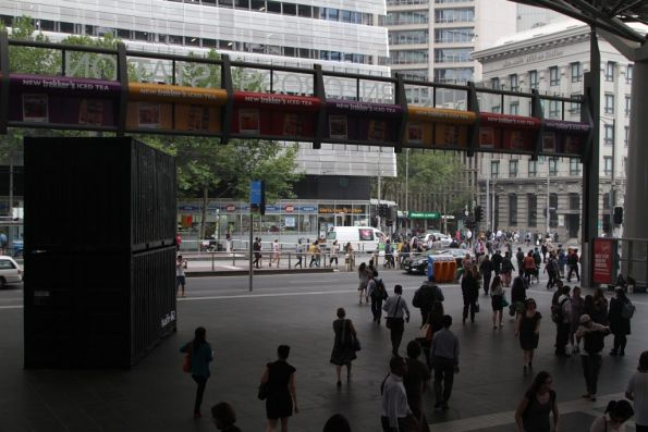 Shipping containers setup on the Collins Street concourse to promote the film 'Wolf Creek 2'