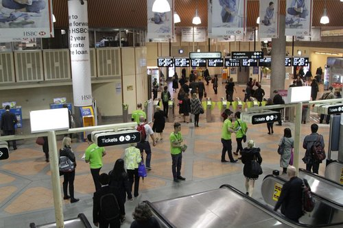 Street fundraisers from Oxfam at Flagstaff station for the second time this week