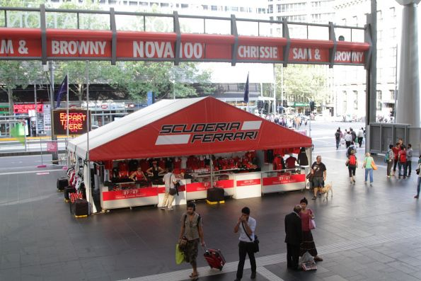 Grand Prix merchandise stalls blocking the main entrance to Southern Cross Station