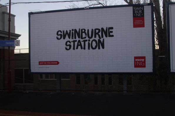 'Swinburne Station' billboard at Glenferrie station