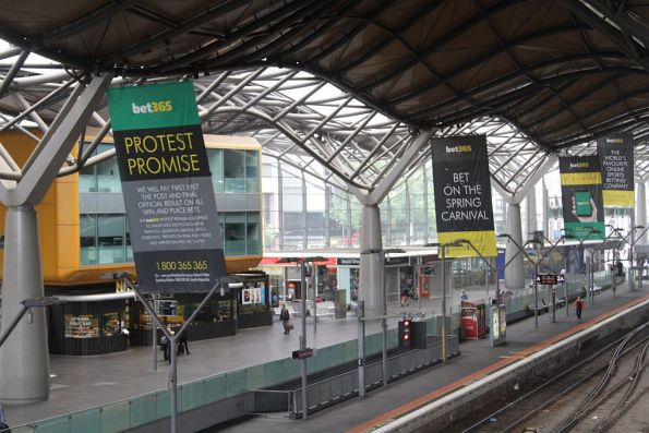 Bet365 advertising covers Southern Cross Station during the spring racing carnival