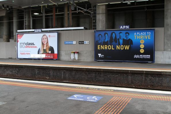 Education season - advertisements for Melbourne Polytechnic and Melbourne Institute of Technology at North Melbourne station