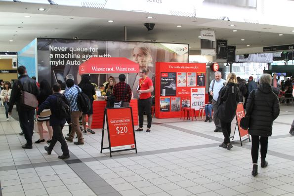 Spruiking 'The Economist' at Flinders Street Station