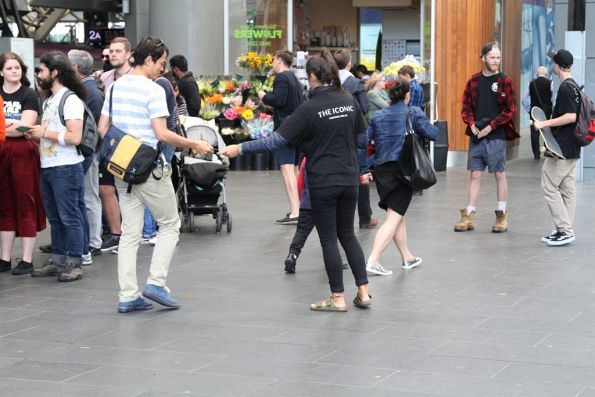 Handing out vouches for 'The Iconic' outside Southern Cross Station