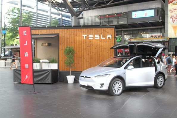 Tesla promotion blocks the main entrance to Southern Cross Station
