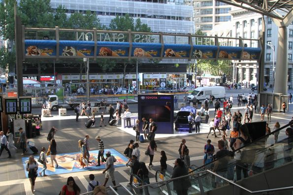 Toyota Camry Hybrid promotion blocks up the main entrance to Southern Cross Station