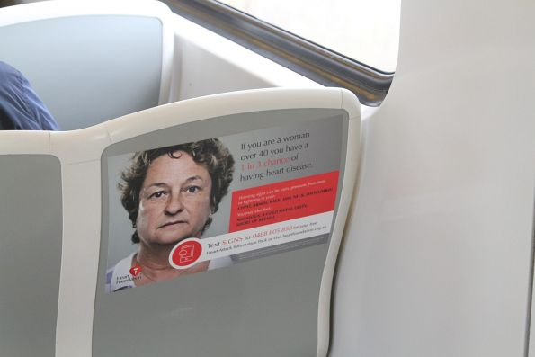 Heart Foundation advertising on the seats of a Siemens train