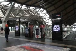 New JCDecaux advertising screens on the Collins Street concourse at Southern Cross Station