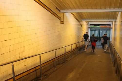 Advertising posters removed from the ramps down to the Elizabeth Street subway
