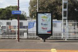 PTV advertising on a JCDecaux billboard at Mordialloc station