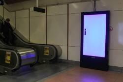 New Adshel digital advertising panel on the fritz at Flagstaff station