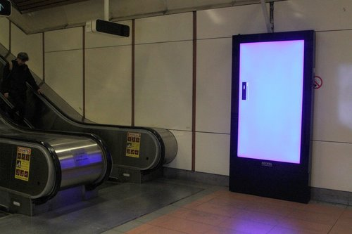 New Adshel digital advertising panel on the fritz at Flagstaff station