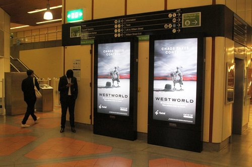 New Adshel digital advertising panels at Flagstaff station