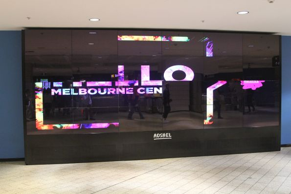 JCDecaux digital advertising screen at Melbourne Central station now rebranded as Adshel