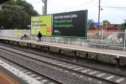 Billboards at Coburg station platform 2