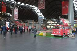 Colgate toothpaste promotion blocks the main entrance to Southern Cross Station