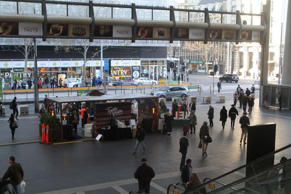 Helga's bread promotion blocks the main entrance to Southern Cross Station