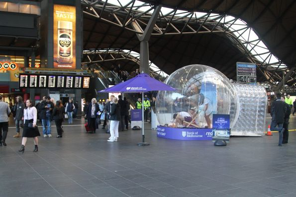 Bank of Melbourne promotion blocking the main entrance of Southern Cross Station