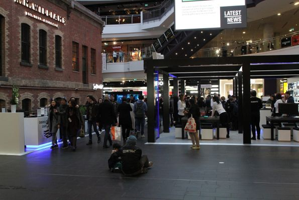 Samsung mobile phone store blocks the entrance to Melbourne Central station