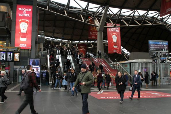 Heinz tomato ketchup advertising covers Southern Cross Station