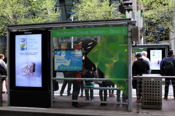 JCDecaux digital advertising screens at the Southern Cross tram stop on Collins Street