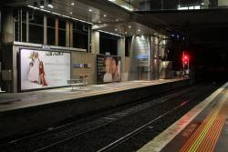 Advertising billboard at North Melbourne platform 1