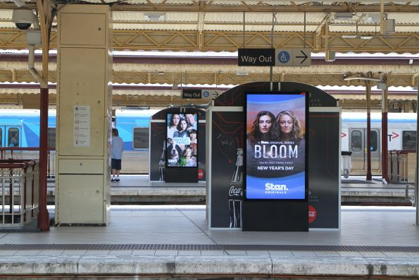 New digital advertising panels by oOh!media on the platforms at Flinders Street Station