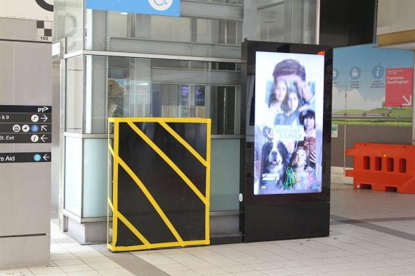 'Bumblebee box' marks the site of a damaged oOh!media digital advertising screen at Flinders Street Station