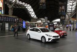 Kia car promotion blocks the main entrance to Southern Cross Station