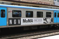 Advertisement for 'NGV MoMA' on the side of a Siemens train - the exhibition finished months ago!