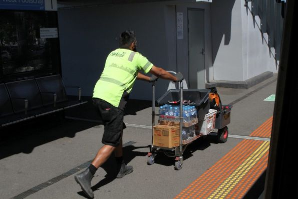 Refilling the vending machines at West Footscray station